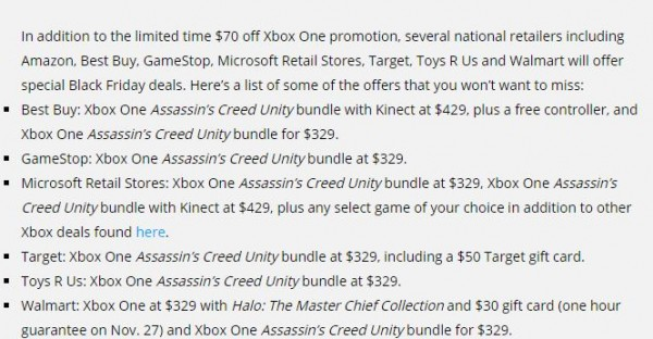 Xbox One Black Friday deals